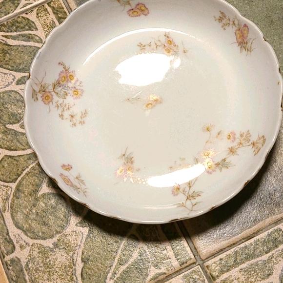 Porcelain limoges dish plate purple pink flowers